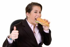 Young secretary, lunch break Royalty Free Stock Images