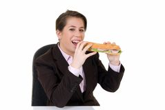 Young secretary, lunch break Stock Image