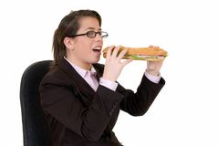 Young secretary, lunch break Royalty Free Stock Photos