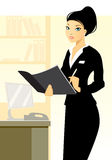 Young secretary in office. Vector illustration of a young secretary in office Stock Photography