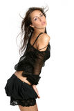 Young and seductive brunette. Isolated over white background Royalty Free Stock Image