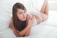 Young seductive brunette relax Stock Photos