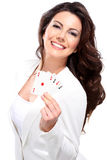 Young seductive woman play poker Royalty Free Stock Photo