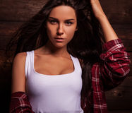 Young sensual & beauty woman in casual clothes. Stock Photography