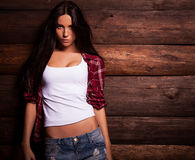 Young sensual & beauty woman in casual clothes. Royalty Free Stock Images