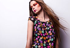 Young sensual & beauty woman in a fashionable dress. Royalty Free Stock Image