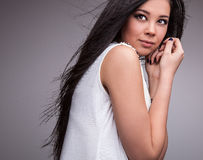 Young sensual & beauty woman in a fashionable dress. stock photography