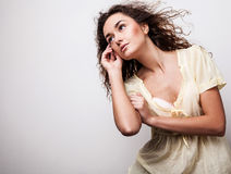 Young sensual & beauty woman in a fashionable dress. Stock Image