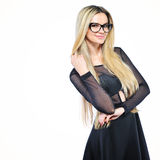 Young sensual blonde woman in glasses - isolated on white backgr Stock Photography