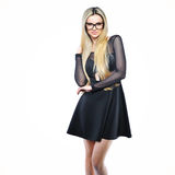 Young sensual blonde woman in glasses - isolated on white backgr Royalty Free Stock Images
