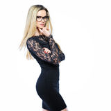 Young sensual blonde woman in glasses - isolated on white backgr Stock Image