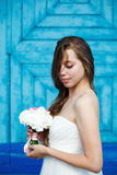 Young sensual bride in wedding dress Stock Photography