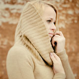 Young sensual girl blonde in windy fall outdoors Stock Photos