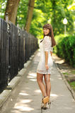 Young sensual girl in white dress - outdoors portrait Royalty Free Stock Images