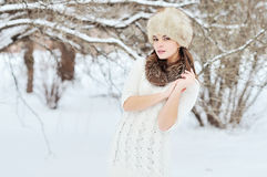 Young sensual girl in winter. Beautiful brunette posing outdoor Royalty Free Stock Photos