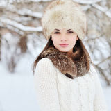 Young sensual girl in winter. Beautiful brunette posing outdoor Royalty Free Stock Image