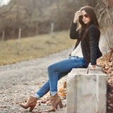 Young sensual model female in sunglasses Royalty Free Stock Images