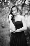 Young sensual model girl outdoor. Black and white photo Stock Images