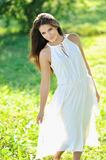 Young sensual model girl pose outdoors Stock Photography