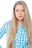 Young sensual model girl pose in studio. Close up Stock Image