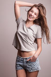 Young sensual model girl pose in studio. Photo Stock Photography