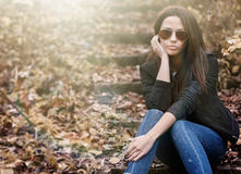 Young sensual model woman in sunglasses stock photography