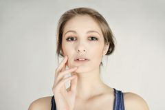 Young sensual pretty blonde girl Royalty Free Stock Photos