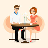 Young sensual pretty woman flirts with boyfriend in the cafe Stock Photos