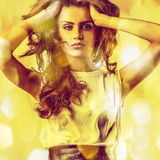 Young sensual romantic beauty woman. Multicolored pop art style. Royalty Free Stock Photo
