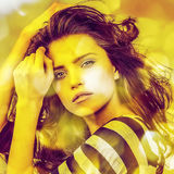 Young sensual romantic beauty woman. Multicolored pop art style. Stock Images