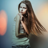 Young sensual romantic beauty woman. Multicolored pop art style photo. Stock Image
