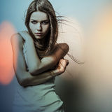 Young sensual romantic beauty woman. Multicolored pop art style photo. Royalty Free Stock Photography