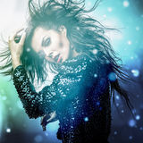 Young sensual romantic beauty woman. Multicolored pop art style photo. Royalty Free Stock Images