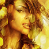 Young sensual romantic beauty woman. Multicolored pop art style photo. royalty free stock image