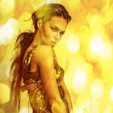 Young sensual romantic beauty woman. Multicolored pop art style photo. Royalty Free Stock Photo