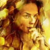 Young sensual romantic beauty woman. Multicolored pop art style photo. Stock Photo