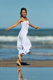 Young sensual woman on the beach Stock Images