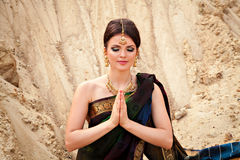 Young sensual woman in traditional indian dress Royalty Free Stock Photography