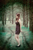 Young sensual woman in wood harmony with nature Royalty Free Stock Photo