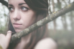 Young sensual woman in wood harmony with nature Royalty Free Stock Photos