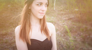 Young sensual woman in wood harmony with nature Royalty Free Stock Image