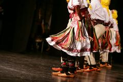 Young Serbian dancers in traditional costume. Folklore of Serbia.  stock photos