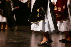 Young Serbian dancers in traditional costume. Folklore of Serbia.  stock photography