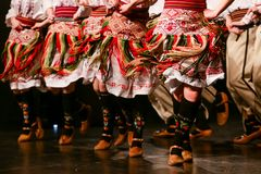 Young Serbian dancers in traditional costume. Folklore of Serbia.  royalty free stock photo
