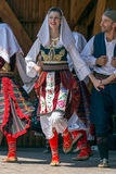 Young Serbian dancers in traditional costume Royalty Free Stock Photos