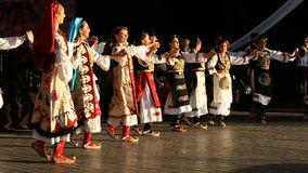 Young Serbian dancers in traditional costume stock video