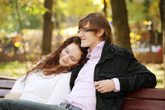 Young serene couple in park Stock Photography