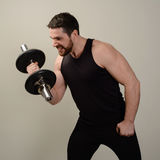 Young serious athlete performs an exercise with dumbbells to develop biceps.  royalty free stock photos