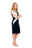 Young serious business woman in full length. Royalty Free Stock Images