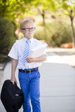 Young serious businessman carrying briefcase to work Stock Image